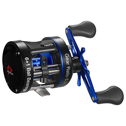 Piscifun Chaos XS Baitcasting Reel Round Reel Reinforced Metal Body Conventional Reels for Catfish, Musky, Bass, Pike, Saltwater Inshore Surf Fishing Reels (40 Left Handed)