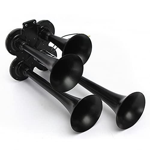 BBOPG Tren Air Horns Car Electric Air Horn Horn 24V / 24V Train Horns Super Ruagal 4 Tubos Cocho Cuerno Kit para Tren Truck Car 320db Trumpet Air Horn