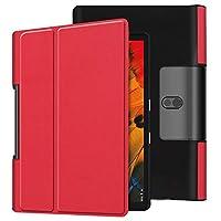 Lenovo Yoga Smart Tab ケース 【COKOVI】Lenovo Yoga Smart Tab 10.1 ケース Lenovo Yoga Tab 5 YT-X705F ケース 折りたたみ式 スタンド機能付き マグネット開閉 横開き 全面保護 軽量型 超薄型 高級PUレザー (レッド)