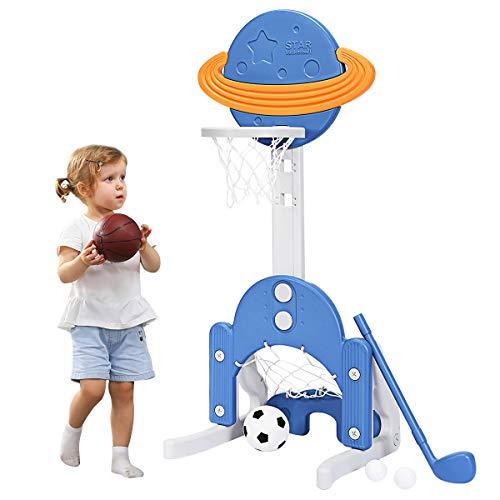 COSTWAY 3 in 1 Kinder Spielplatz, höhenverstellbarer Basketballkorb & Fußballtor & Golf, Basketballständer inkl. Bälle und Golf Club, Korbanlage für Kinder ab 3 Jahren (Blau)