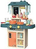 JT-Lizenzen Luna Spielküche Kinderküche mit Wasser Licht Sound und 36-TLG. Koch Zubehör Petrol +3J
