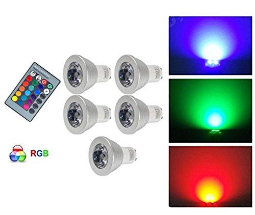 G-Anica 5pz Lampada LED 3W GU10 RGB LED Lampadina LED Colore cambia lampadina con telecomando IR (270lm, AC 220V-240V) - multicolor con infrarossi - [Classe di efficienza energetica A]