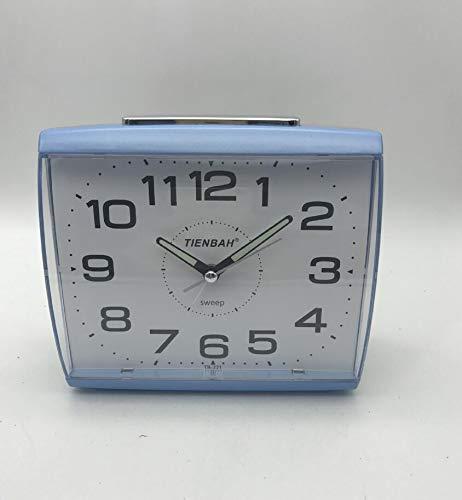5 Zoll Wecker Analog mit Schlummerfunktion und Licht, Wecker Ohne Ticken, geräuschlos, Pieptöne, ruhiges Quarzuhrwerk, Batteriebetrieben Wecker Retro Design (Blue)