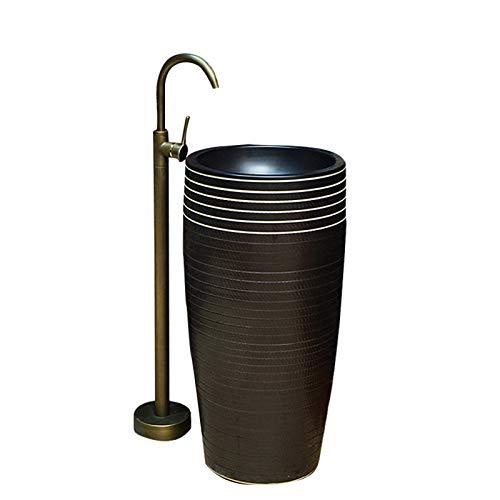 YRRA Lavabo con Pedestal De Un Aterrizaje, Lavabo De Baño con Pedestal con Orificio De Instalación De Drenaje Accesorios para El Baño, para Baño, Balcón,C,42x42x83cm