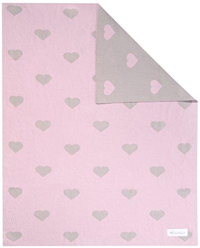 Kindsgut Kinderdecke, weiche Baby-Decke aus Baumwolle in 80cm x 100 cm, ideal für unterwegs im Kinderwagen oder zum kuscheln, dezente Farben und schlichtes Design, Herzen