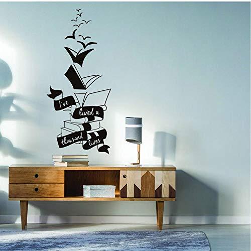 MRQXDP Motivationele Muursticker Inspirerend Positief Boek Sticker Lezen Lover in Stickers Lees Meer Boeken Schatten Muurschildering 42x94cm muurschilderingen Behang pared Slaapzaal Decoratie