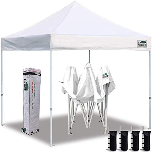 Eurmax Ez Pop up Sports Canopy, Outdoor Instant Tent with Deluxe Wheeled Carry Bag (10x10, White)