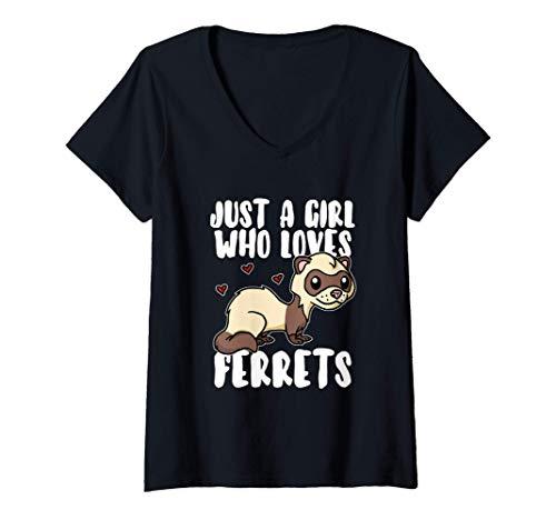 Mujer Just A Girl Who Loves Ferrets Disfraz De Comadreja Hurón Camiseta Cuello V