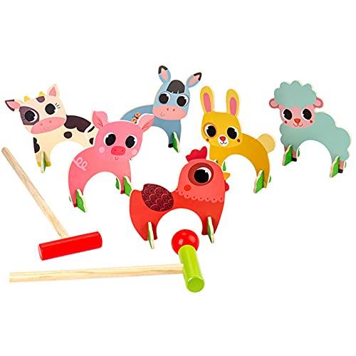 DMMSS Jeu De Croquet De Qualité,Croquet pour 6 Joueurs,2 Clubs,1 Ball,Enfants Et Adultes, Ensemble Complet avec Sac