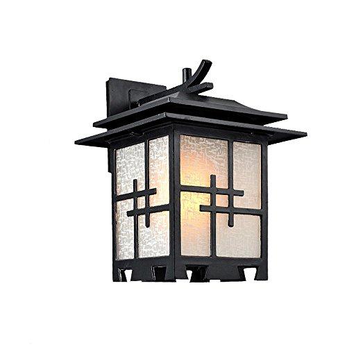 Modeen Chinesische Art-im Freien wasserdichte Aluminiumglas-Wand-Lampe Japanisch-Art-einfache antike Weinlese-Landhaus-Tür-Hall-Garten-Patio LED beleuchtet E27 Dekoration-Laternen-Wand-Licht