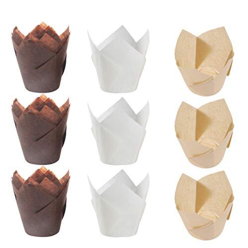 NUOBESTY revestimientos de magdalenas tulipán tazas para hornear envolturas de magdalenas de papel paquete de muffins titular de regalo para bodas de...