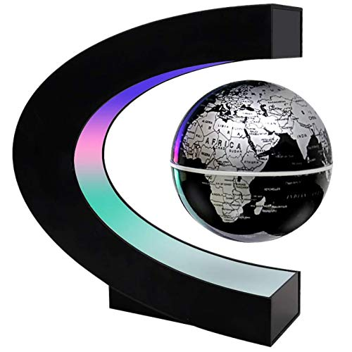 Levitation Globe, C Shape Magnetic Floating Globe with LED Lights World Map Globe Unique Learning Education Gifts for Teaching Demo Home Office Desk Decoration (Silver)