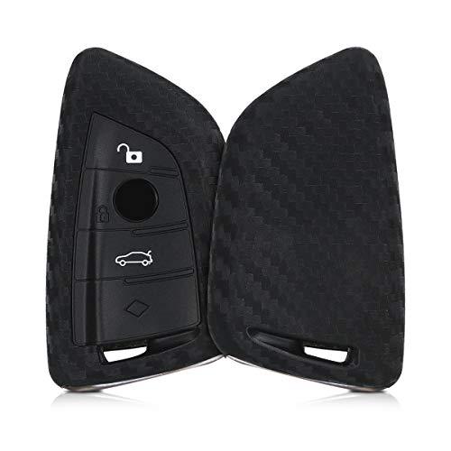 kwmobile Funda Compatible con BMW Llave de Coche Smart Key de 3 Botones - Carcasa Protectora Suave de Silicona - Carbono