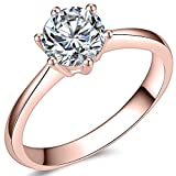 1.0 Carat Classical Stainless Steel Solitaire Engagement Ring (Rose Gold, 6)
