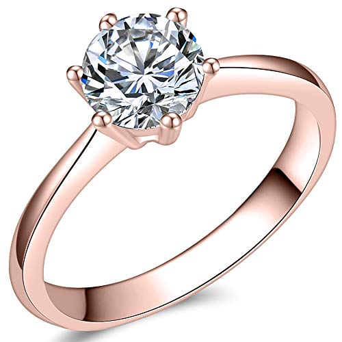 1.0 Carat Classical Stainless Steel Solitaire Engagement Ring (Rose Gold, 4.5)