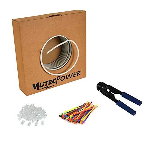 MutecPower 100M CAT5E 24 AWG Solido FTP Cavo di Rete Ethernet - con Pinza per crimpatura - 350 MHz Grigio 100 Meter