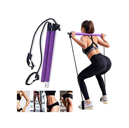 FSMKDS Kit de barra de pilates de resistencia para ejercicio, yoga, pilates portátil, barra de tonificación, bar para el hogar, gimnasio, pilates con lazo para el pie para entrenamiento corporal total