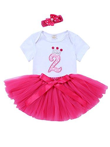 URBEAR Bebé Niña 3pcs vestido de Rosa Roja tutú+ropa+diadema Corona Patrón de primer cumpleaños para.12-24 Meses