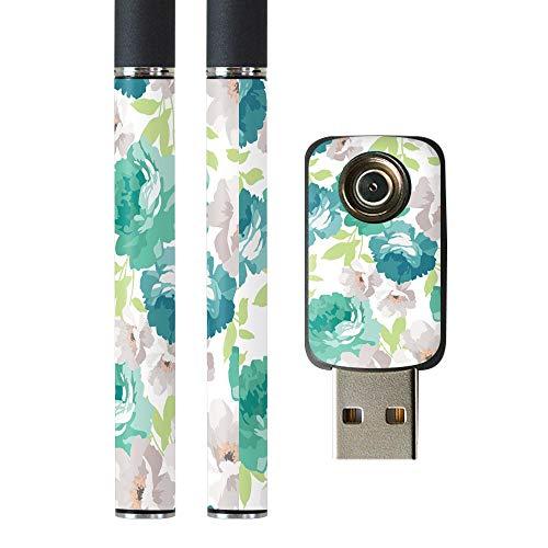 igsticker プルームテック Ploom TECH 専用スキンシール バッテリー スティック USB充電器 カバー ケース 保護 フィルム ステッカー スマコレ 011104 花 フラワー 緑