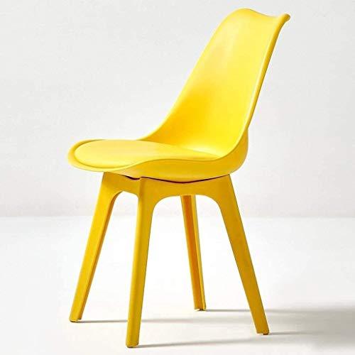 QZMX Stuhl Moderne Minimalist Kunststoff Dining Chair, Lässige weichen Stuhl, Café Tulip Chair, Nordic Plastic Dining Chair Bürostuhl (Color : Yellow)