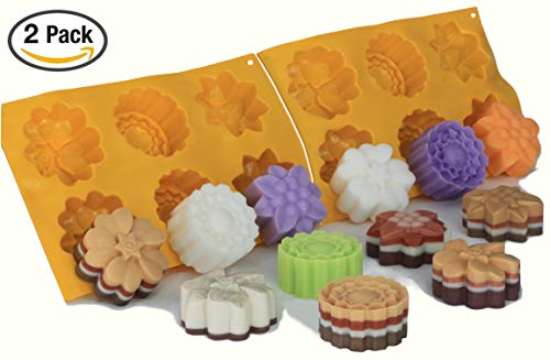 Pack of 2 Molds: Flowers Silicone Molds for Baking, Crafts, Soap & Candle Making