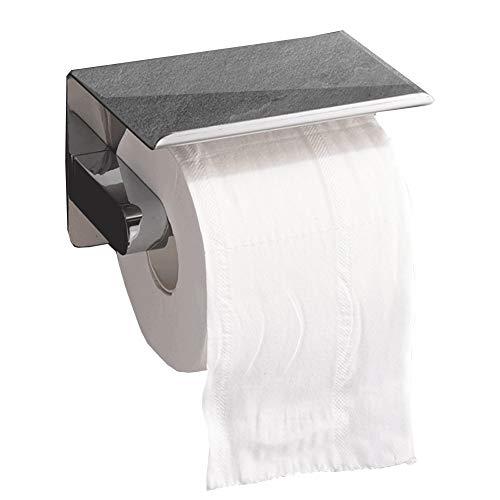 Portarrollos de Papel higiénico, Portarrollos de Papel higiénico con Estante, Taladro montado en la Pared, Acero Inoxidable Pulido para baño y Cocina