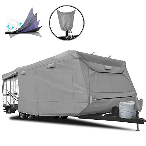 "RVMasking 5-ply Top Travel Trailer RV Cover, Fits 24'1"" - 26' RVs - Breathable Waterproof Anti-UV Ripstop Camper Cover with 15 PCS Windproof Buckles & Tongue Jack Cover"