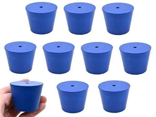 Tapón de neopreno, 1 agujero – azul, tamaño: 35 mm parte inferior, 45 mm parte superior, 36 mm de longitud – Pack de 10
