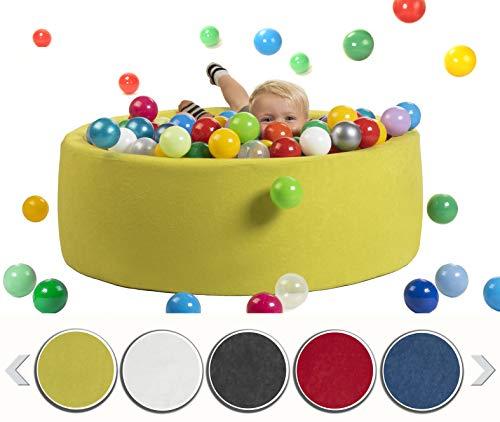 sunnypillow Bällebad für Baby Kinder mit 200 bunten Bällen∅ 7cm Bällepool 90x30cm viele Farben zur Auswahl Spielbälle Kugelbad Spielbecken Farbe : hellgrün