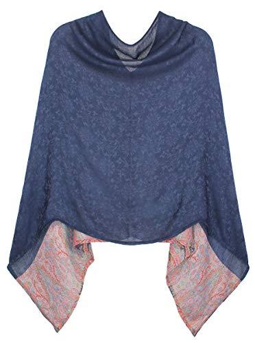 dy_mode Damen Poncho Cape Eleganter Leichter Poncho geblümt - WJ036 (WJ036-Tiefblau)