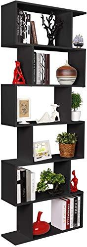 Homfa Estantería librería 6 Estantes Estantería Pared Estantería Libros de diseño Negro 70x23.5x190.5cm