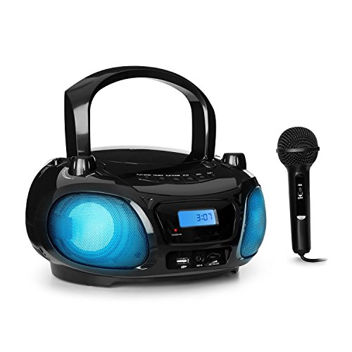 auna Roadie Sing (karaokespeler, CD-MP3, boombox, stereo, USB-poort, FM-radio, Bluetooth 3.0, Sing-A-Long-functie, netvoeding en batterijvoeding, LED-verlichting, microfoon) zwart