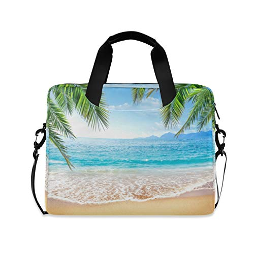 ALAZA Beach Palm Leaf Summer Laptop Case Bag Sleeve Portable Crossbody Messenger Briefcase w/Strap Handle, 13 14 15.6 inch