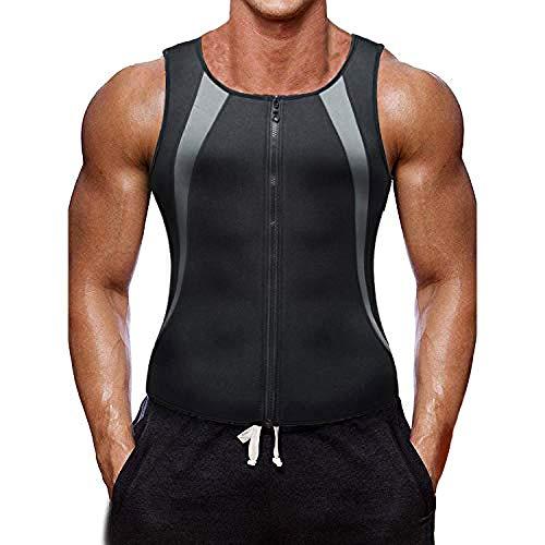 Herren Fitness Shape Shirt Bauchweg Training Weste Sauna Schwitzeffekt Tank Top stark formend Gym Bodyshape mit für den Muskelaufbau, das Cardio- oder Ausdauertraining geeignet (Mit Reißverschluss,L)