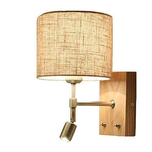 Nordische hölzerne Wandleuchte LED LED-Wandleuchten Modernes minimalistisches kreatives Stoffbett mit Schalter Wandleuchte Hotel Wohnzimmer Schlafzimmer Gang Balkon Wandleuchte Nachttischleuchten