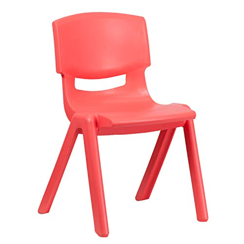 Flash Furniture Red Plastic Stackable School Chair with 15.5'' Seat Height