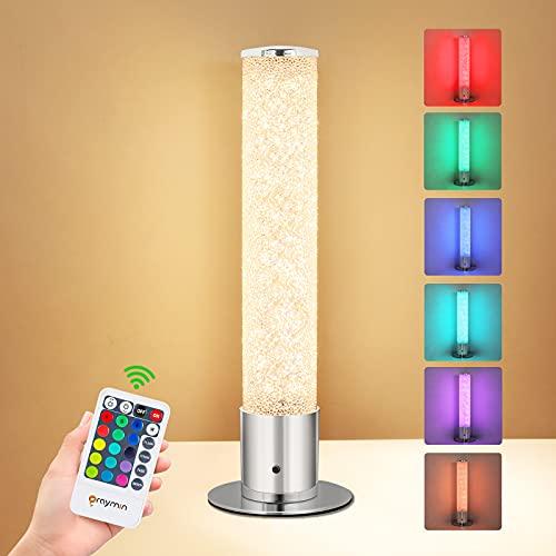 LED Tischleuchte Dimmbar mit Fernbedienung 6w, Oraymin RGB Tischlampe farbwechsel mit 15 Lichtfarben, Memoryfunktion, 3000K Warmweiß für Wohnzimmer Schlafzimmer Kinderzimmer, Höhe 30CM