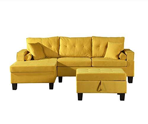 Home Deluxe - Sofagarnitur Rom Rechts - Farbe Gelb - 215,9 cm x 215,9 cm x 90,2 cm - inkl. Hocker | Sofagarnitur, Sofa, Couch, Wohnlandschaft…