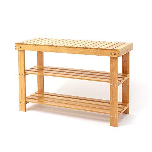 Leogreen - Organizador de Zapatos de Bambú, Estantería de Bambú para Zapatos, 70 x 45 x 28 cm, Material: Bambú