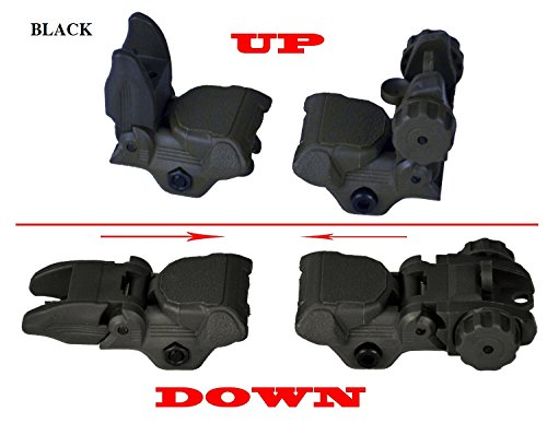 Sniper Tactical Folding BACKUP Iron Sight Tower Set; Front and Rear BUIS Combo Set; Polymer; Black