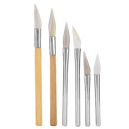 Cuchillo de ágata, pulidor de ágata, juego de pulidor de ágata con filo de cuchillo, herramientas de pulido artesanal, tallado de metales preciosos con mango de hierro de bambú para hacer joyas