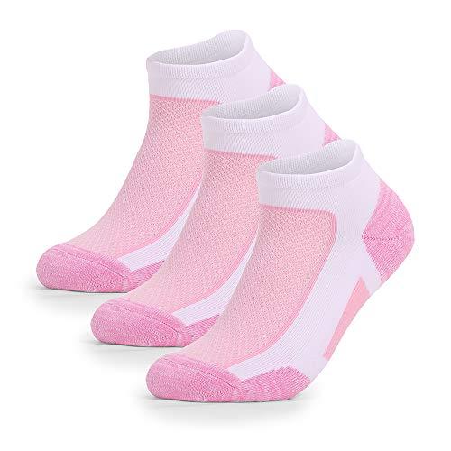 Wonewin 3 Pares Calcetines Running Para Hombre Mujer - Deporte Calcetines Cortos de Algodón Con Amortiguación Respirable Running Ciclismo (Rosado, M)