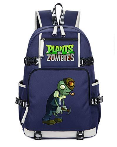 WANHONGYUE Plants vs. Zombies Juego Mochila Escolar Estudiante Bolso de Escuela Backpack Mochila para Portátil Azul-1