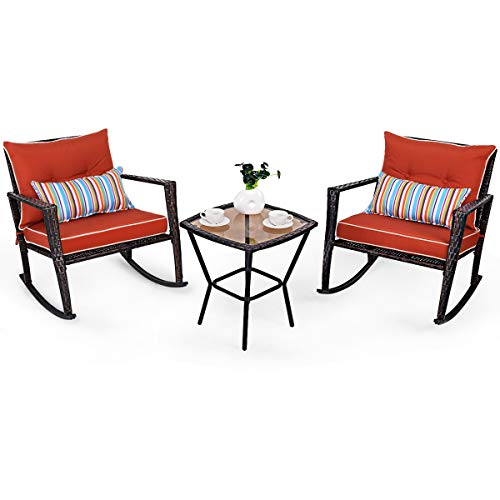 COSTWAY 3 PCS Rattan Wicker Rocking Bistro Set, Glass Coffee Tea Table and 2 Rocking Chairs with Cushion & Waist Pillow, Conversation Sets for Outdoor Garden Patio Porch (Red)