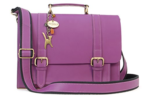 Catwalk Collection Handbags - Vera Pelle - Borsa a Tracolla da Lavoro/Satchel/Borse a Mano/Messenger/Borsa Business - Tracolla Regolabile e Rimovibile - Canterbury - VIOLA