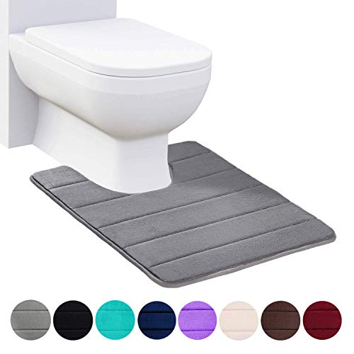 Buganda Memory Foam Contour Toilet Bath Rug, U-Shaped Non Slip Absorbent Thick Soft Washable Bathroom Rugs, Floor Carpet Bath Mat for Bathroom Sink Toilet (20' x 24', Grey)