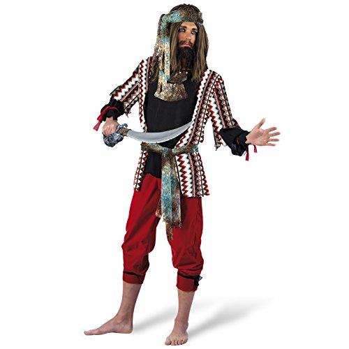Limit Sport Feuriger Pirat Kostüm Herren Kostüm 3-teilig Hose Hemd Tuch Klassiker für Karneval - L