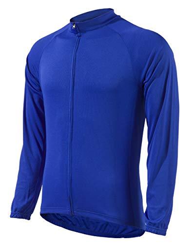 ウェルクルズ(Wellcls) 長袖 サイクルジャージ サイクルウェア 春夏用 メンズ 自転車 ロードバイク ウェア ジャージ サイクリング シャツ サイクリングウェア WL-BB057 (ブルー, XXL)