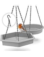 WILDLIFE FRIEND Karmnik dla ptaków, miseczka do zawieszenia, miseczka XL z poidłem dla ptaków, poidło dla ptaków, do zawieszenia z miejscem lotu, zestaw 2 szt