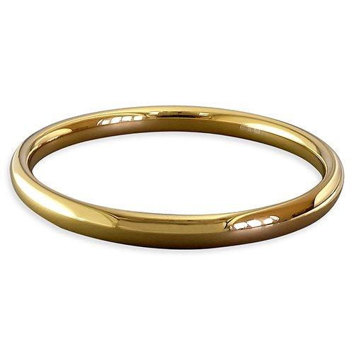 Brazalete de plata de ley chapado en oro amarillo chunky esclavo